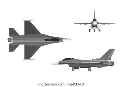 The image of military aircraft. Three views of airplane: top, side, front. Vector illustration.