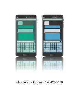 Image of a mobile phone with message application. Real mobile with chat window. Editable vector.