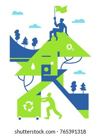Image of modern eco-friendly life. Conceptual vector illustration about recycling.