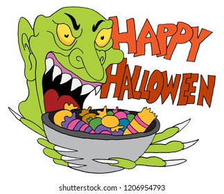 An image of a Monster Holding Candy Bowl Happy Halloween.