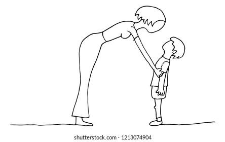 An image of a Mother Son parent conversation with child.