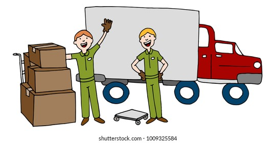 An image of a Moving Company Cartoon Team With Truck and Boxes.