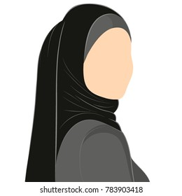 Image of Muslim woman in hijab without face.