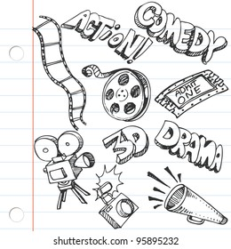 An image of a notebook paper entertainment doodles.