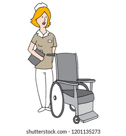 An image of a Nurse with Wheelchair.