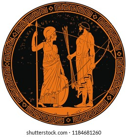 Image on the bottom of the vase the hero of the ancient Greek myths and the inscription Athena Pallada and Odysseus. Warriors with a weapon.