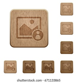 Image owner on rounded square carved wooden button styles