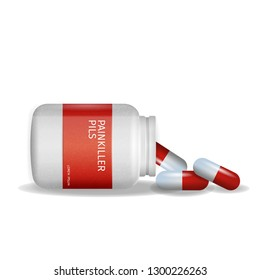 Image Packaging Painkiller Pils White Background. 3d Vector Illustration Infographic Medication Lying Tablet Beside to Pack Pill. Rheumatic Disease Treatment. Isolated. Rheumatologist Prescription