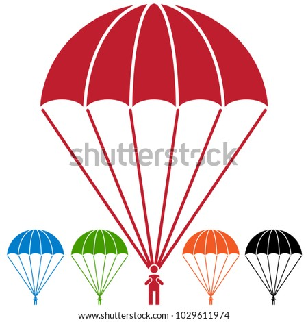 An image of a Paratrooper Parachute Skydiver Icon Set.
