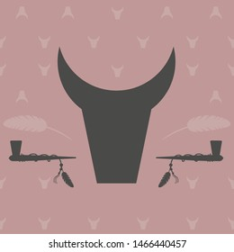 image of a pink background with bull heads, smoking pipes or peace pipes and white feathers