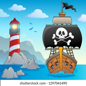 Image with pirate vessel theme 2 - eps10 vector illustration.