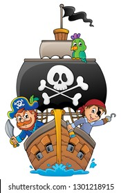 Image with pirate vessel theme 4 - eps10 vector illustration.