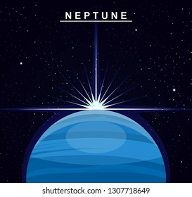 Image of the planet Neptune. The eighth planet of the solar system. Science and education. Flat style. Cartoon.