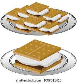 An image of a Plate of Graham Cracker S'mores isolated on a white background.