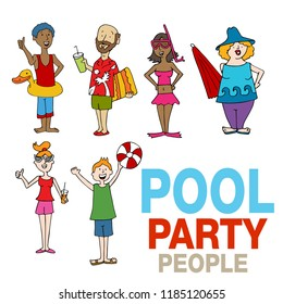 An image of a Pool Party People Cartoon Set.
