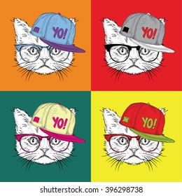 Image Portrait of a cat in a baseball cap with glasses. Pop art style vector illustration.