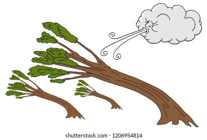 An image of a Powerful Trees and Cloud Blowing Wind cartoon.