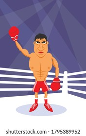 Image of a professional boxer in the ring cartoon