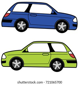 An image of a profile view Compact Cartoon Car.