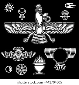 Image of the prophet Farvahar. Set of esoteric symbols. The white silhouette isolated on a black background. Vector illustration.
