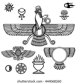 Image of the prophet Farvahar. Set of esoteric symbols. The black silhouette isolated on a white background. Vector illustration.