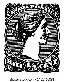 Image of queen victoria in the center along with half cent written at the base vintage line drawing.