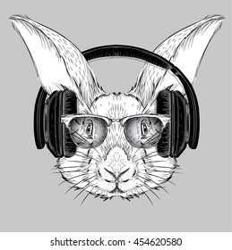 The image of the rabbit in the glasses and headphones. Vector illustration.