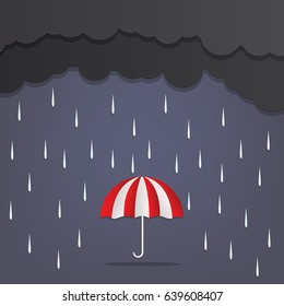 The image of a rainy season Clouds and Umbrella,tone is dark.paper style , illustration , vector