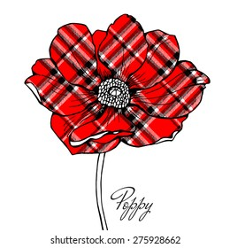 Image of a red checkered poppy flower. Vector illustration.
