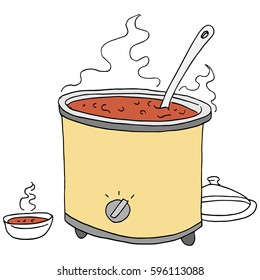 An image of a  retro chili crockpot drawing.