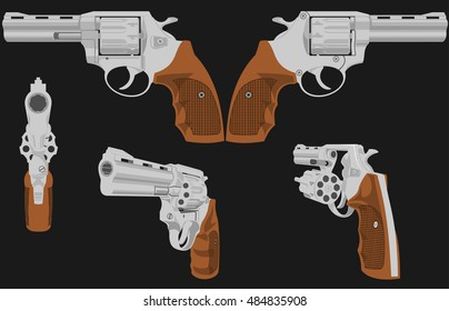 The image of a revolver in five positions. The first figure is possible to animate. Illustration is composed of six layers - five revolvers and background.