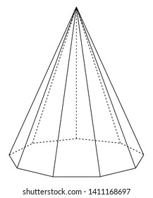 The image of a right non-adonal pyramid with hidden edges is shown. The base is a nonagon and the face is an isosceles triangle, vintage line drawing or engraving illustration.