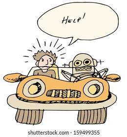 An image of a robotic self driving car.