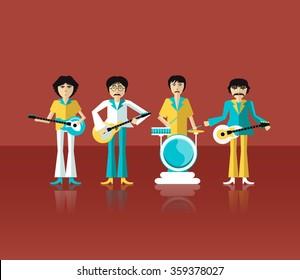 The image of rock musician, guitarist, singer, performer. Flat design. Illustration. Icon. Vector.
