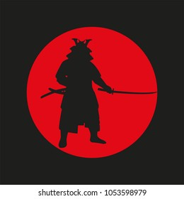 the image of the Samurai against the background of the red sun. Samurai_s figure. Samurai_s symbol. Japan. sword