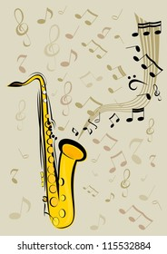 Image saxophone with music notes
