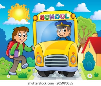 Image with school bus theme 6 - eps10 vector illustration.