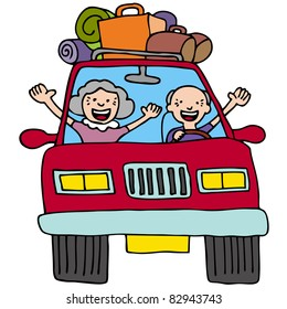 An image of a senior couple in a car with luggage and boxes.