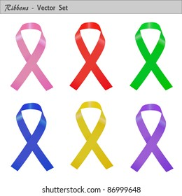 Image of a set of colorful ribbons isolated on a white background.