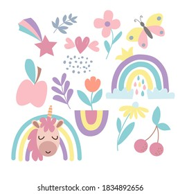 Image with a set of cute cartoon unicorn, rainbow, butterfly, flowers, fruits in vector graphics. For wallpaper design, prints for childrens t-shirts, notebook covers, textiles, wrapping paper.