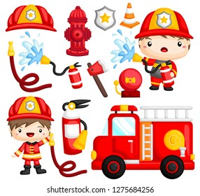 an image set of many fireman and objects related to fireman