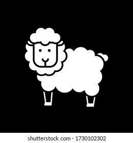 Image of a sheep. Funny line image . Black background.