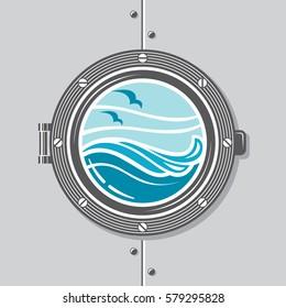 image of ship porthole with glass. Vector illustration