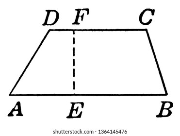 An image showing the ABCD trapezoid. Height labeled with EF dotted line. Quadrilateral that has two and only two parallel sides, vintage line drawing or engraving illustration.