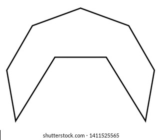 The image showing an irregular concave Nonagon. A nonagon is a closed geometric figure with 9 sides, vintage line drawing or engraving illustration.