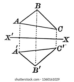 An image showing the quadrilateral. A quadrilateral with axis of symmetry drawn in a quadrilateral, vintage line drawing or engraving illustration.