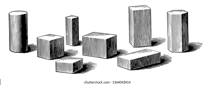 An image showing several geometric solids, mainly rectangular prisms with a cylinder and a hexagonal prism, vintage line drawing or engraving illustration.