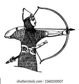 The image shows the Assyrian archer. He has an arrow and bow in his hand and he is wearing a mesh suit. He has a chain around the stomach, vintage line drawing or engraving illustration.