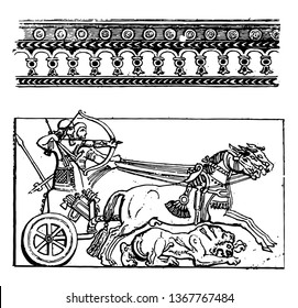 The image shows the Assyrian divider 2. There are two warriors inside the chariot. One of them holds the thread and the other holds a bow and arrows, and the lion is present under the horse, vintage