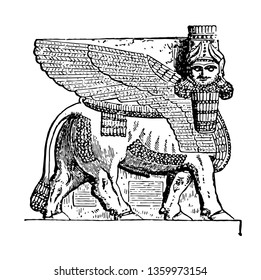 The image shows Assyrian God Ninip. It looks animal and is the God of Assyria, an ancient country of Asia, vintage line drawing or engraving illustration.
